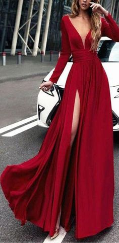 Charming Cheap Custom Long Sleeves Red Simple Soft Prom Dresses 3f08a95b6