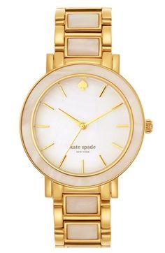 kate spade new york 'gramercy grand' mother-of-pearl bracelet watch, 38mm | Nordstrom