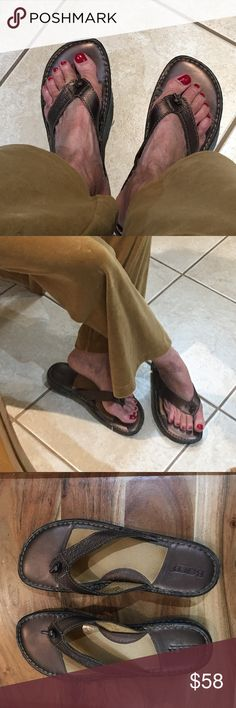 Born Handcrafted bronze leather sandals I am selling a pair of born handcrafted sandals and a uber cool bronze color... as always Born stands for the ultimate in comfort and quality having their own style for each and every design... these have been very gently worn.. Born Shoes Sandals