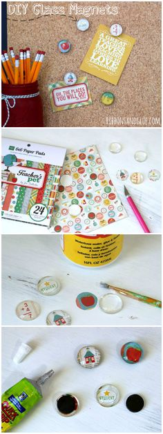 How to make easy Glass Magnets. Step by Step tutorial on an how to make an inexpensive and creative Teacher Gift Idea, Diy Arts And Crafts, Creative Crafts, Easy Crafts, Glass Magnets, Diy Magnets, Homemade Gifts, Diy Gifts, How To Make Diy, How To Make Magnets