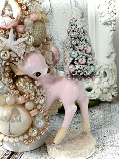 About My Pink Pixie creations-. French Christmas, Cottage Christmas, Christmas Deer, White Christmas, Christmas Tree Ornaments, Shabby Vintage, Vintage Pink, Bottle Brush Trees, Shabby Chic Cottage