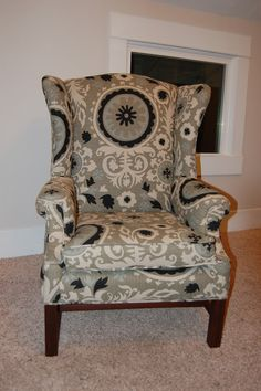 It's my chair fabric! how awesome! This chic has far more talent than me to reupholster a wingback chair! love seeing my the fabric on a chair. Reupholster Furniture, Upholstered Furniture, Furniture Makeover, Diy Furniture, Furniture Refinishing, Couch Makeover, Reclaimed Furniture, Furniture Repair, Refurbished Furniture