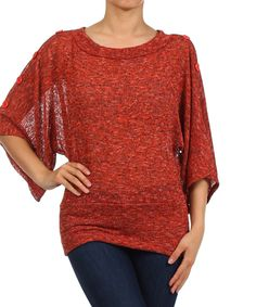 Another great find on #zulily! J-Mode USA Los Angeles Rust Sheer Button Cape-Sleeve Top - Plus by J-Mode USA Los Angeles #zulilyfinds