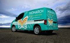 Vehicle wrap design for Monarch Home Services located in California. The best vehicle wraps use simple, eye-catching graphics that are easy to read, as this wrap for Monarch shows. - NJ Advertising Agency, NJ Ad Agency, NJ Web Design, NJ Logo Design | Graphic D-Signs, Inc. #truckwraps #advertising #design #graphicdesign #vehiclewraps
