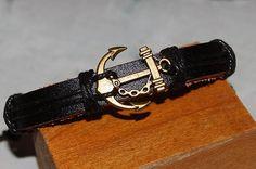bracelet homme / femme réglable cuir et médaille de bronze marin,ancre marine,  breloque, amulette