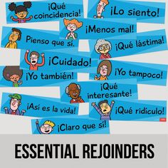 Teach your students the short common phrases that help to sustain conversations. These phrases can be used with anyone—complete strangers, grandmas, soccer hooligans—you name it. Twelve 6 x posters. Spanish Songs, Spanish Phrases, Spanish Lessons, How To Speak Spanish, Learn Spanish, Spanish Games, Spanish English, Spanish Teacher, Spanish Classroom