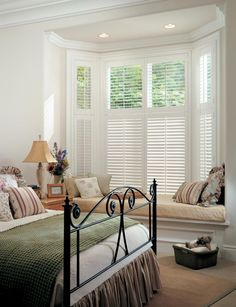 Hunter Douglas Shutters in Bay Window - 3 Blind Mice Window Coverings