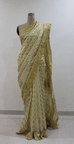 Cream and Gold Hand Block Printed Chanderi Saree..To buy this Saree drop a message..