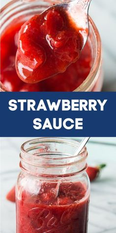 Homemade Strawberry Sauce.  This easy to make dessert sauce is perfect for pouring onto pancakes, waffles, ice cream, or pretty much any dessert you can think of!  #icecreamtopping #strawberryrecipe #strawberry
