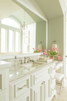 Master Bathroom Vanity Soft Green with White Cabinetry, Quartzite Counters A beautiful master bathroom retreat just for mom with a seaside feel in soft blue-green and sand