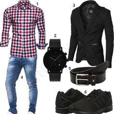 05b0f56a8b4a Herren Outfit mit schwarzem Moderno Sakko, kariertem Hemd, Leif Nelson  Jeans, Adidas Schuhen
