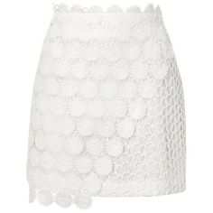 Topshop Wrap Lace Mini Skirt ($50) ❤ liked on Polyvore featuring skirts, mini skirts, topshop, lace miniskirt, white skirt, mini skirt, topshop skirts and wrap skirt