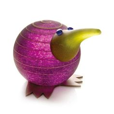 Kiwi Paperweight: 24-02-44 in Purple, Hand-Blown Art Glass by Borowski Glass Studio