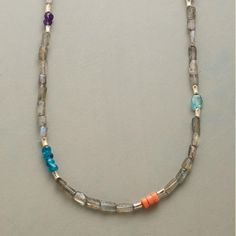 """OMNIBUS NECKLACE -- Apatites, iolites, amethysts, rhodonite and lilac jade enliven our necklace strand of labradorites. With sterling silver beads and lobster clasp. Ours exclusively. Handmade in USA. 17"""" to 18""""L."""