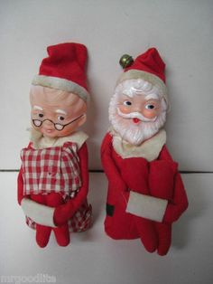 Unusual Old Knee Hugger Santa Mrs Claus Figures | eBay