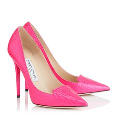 Raspberry Cubed Neon Patent Pointy Toe Pumps | Ari | Pre Fall 15 | JIMMY CHOO Shoes