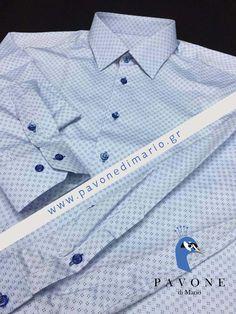 Τρικολίνα Ελβετίας (βαμβάκι) σχέδιο λαχούρι. Γιακάς Ημι-Rex,μανσέτα κοφτή. Κουμπί μπλε ρουά και κουμπότρυπα στο χρώμα του κουμπιού.