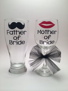 Father of Bride, Mother of Bride Wine Glass and Pilsner Glass, Father of the Bride, Mother of the Bride Gift, Parent Wedding Gift by PrettyLittleVinyls on Etsy https://www.etsy.com/listing/207712669/father-of-bride-mother-of-bride-wine