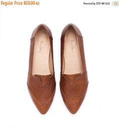 New years sale Women's shoes. Brown shoes. Brown flats by Burlinca