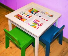 Ana White | Build a Arts and Crafts Play Table | Free and Easy DIY Instructions - instead of plexiglass top, make a reversible top of one side being lego plate and the other side being chalkboard