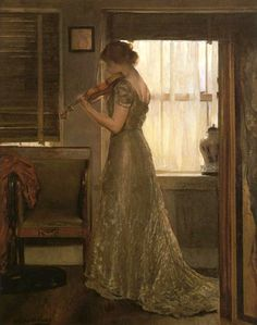 """Girl with a Violin III"" (1902) by Joseph DeCamp (American, 1858-1923)"