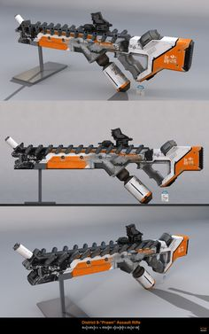 District 9 Assault Rifle — by DudQuitter Sci Fi Rpg, Sci Fi Weapons, Weapon Concept Art, Weapons Guns, Fantasy Weapons, Cyberpunk, Nerf Mod, Future Weapons, Custom Guns