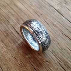 Coin Ring 1917 British-India 1 Rupee 91.7% Silver Size 7 + Ring Box Included!