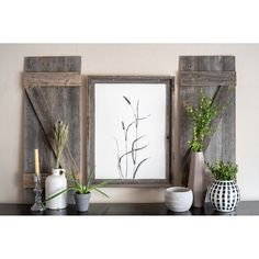 Set of 2 Rustic Natural Weathered Grey Wood Window Shutters with Hanger - 14 W x 2 D x 36 H