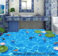 Clear Water Fish Lotus 00037 Floor Decals 3D Wallpaper Wall Mural Stickers Print Art Bathroom Decor Living Room Kitchen Waterproof Business Home Office Gift