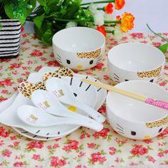 Hello kitty ceramic dinnerware set!  How cute!