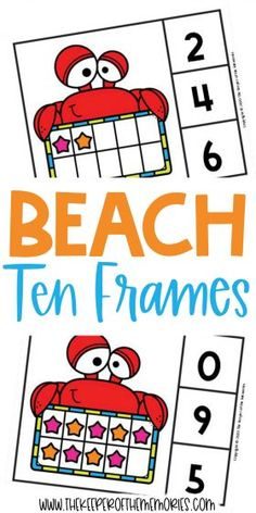 Teach little kids counting, number sense and subitizing with these adorable Free Printable Beach Ten Frame Clip Cards. Download yours today! #preschool #math #beach #seashells #centers #counting #numbers #tenframes #kindergarten Sensory Activities Toddlers, Kids Learning Activities, Preschool Themes, Preschool Printables, Preschool Worksheets, Preschool Kindergarten, Free Printables, Printable Worksheets, Diy Crafts For Kids Easy