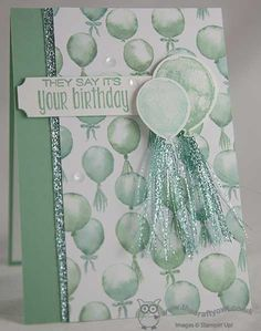 handmade birthday balloons card from The Crafty Owl ... The daily blog of Joanne James ... monochromatic mint ... luv how she shredded the glittery ribbon ... Stampin' Up!
