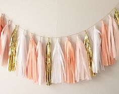 gold and pink lingerie Shower Decorations   Gold Tassel Garlan d Banner - Mothers Day, Spring Decor, Party Decor ...
