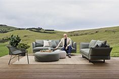 The Zaza Outdoor sofa from King Living is sublime for warm days by the pool or for lounging on a sun terrace. Outdoor Fabric, Outdoor Sofa, Outdoor Living, Outdoor Furniture Sets, Outdoor Decor, Outdoor Range, King Furniture, Innovation Design, Floor Chair