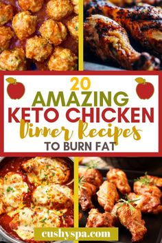 20 Amazing Keto Chicken Dinner Recipes to Burn Fat Sharing ketogenic dinner recipes that are made out of chicken. These low carb dishes are great for losing weight and burning fat! Best Low Carb Recipes, Low Carb Dinner Recipes, Breakfast Recipes, Dessert Recipes, Ketogenic Recipes, Diet Recipes, Healthy Recipes, Ketogenic Diet, Vegetarian Recipes