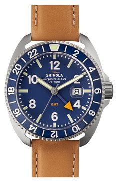 Free shipping and returns on Shinola 'Rambler' Dual Time Leather Strap Watch, 44mm at Nordstrom.com. Premium components like high-accuracy quartz movement and a rich leather strap prime this expertly handcrafted watch for active lifestyles. A layer of double-curved sapphire crystal offers resilient protection for the easy-to-read dial that's uniquely engineered with four hands to communicate both local time and Greenwich Mean Time (GMT)— the standard against which all other time zones in the…