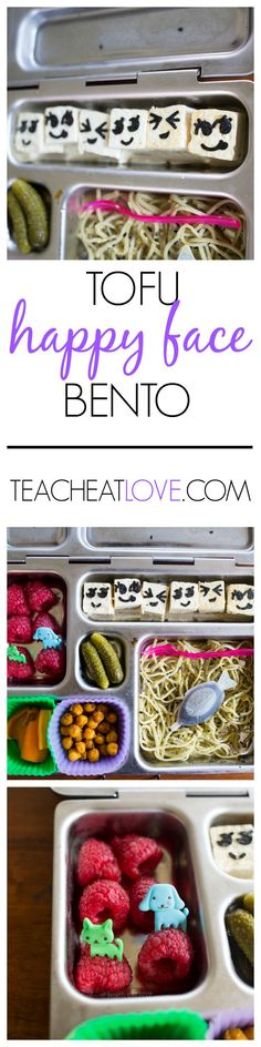 tofu happy face bento. add some fun to your kid's lunch! www.teacheatlove.com