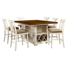 Sun & Pine 7pc Country Storage Counter Height Table Set - Cherry and White