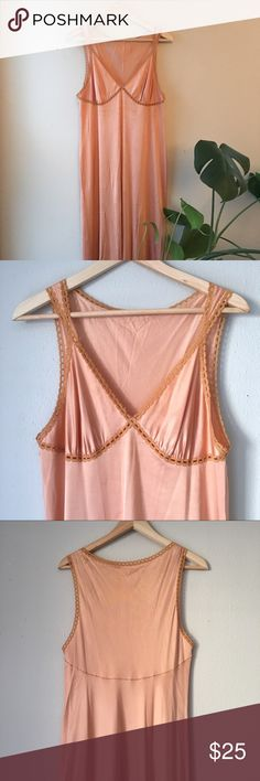 "Vintage Peach Negligee Vintage vanity fair silky long night dress. Lace trim detail around bust and bottom hem. Vintage sexy! Bronzed peach color, machine wash tumble dry, made in the USA 🍑   Bust 36"" Vintage Intimates & Sleepwear Chemises & Slips"