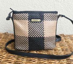 e0c2c1880 Vintage Esprit Crossbody Purse / Handbag, Basket Weave / Straw Black  Checks. Straw Handbags