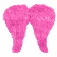 Køb Englevinger til skulder og kostume - Pink Englevinger af fjer 50 x 46 cm
