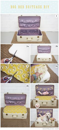 Dog Bed Suitcase DIY (I wonder if I could do this for Chloe, she's a little big but I would love to be able to close it when she's not inside)