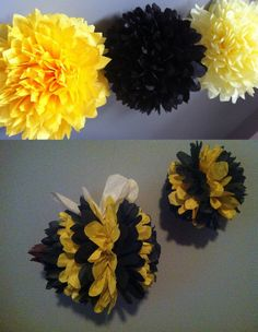 Bumble Bee theme...set of 5 poms/birthday decor/pomanders/DIY wedding/nursery decor/bug theme/animal theme/black and yellow/ on Etsy, $22.50