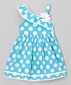 Look at this #zulilyfind! Youngland Blue & White Polka Dot Asymmetrical Dress - Toddler & Girls by Youngland #zulilyfinds