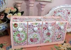 Mosaics- Pink Kitchy Shabby Mosaic Storage/Canister Unit-SOLD