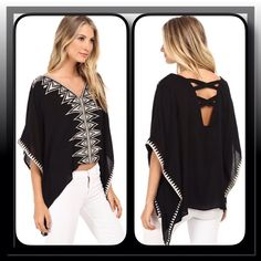 Brigitte Bailey Butterfly Sleeves Kimono Top You can flutter around all day in this stylish soft rayon boho top by Brigitte Bailey, embroidered geometric design on the V- neck, front and sleeve cuffs, V- shaped back with cross- cross stamp detail, handkerchief hem Brigitte Bailey Tops