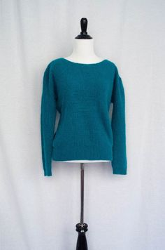 Vintage 1980's 'Trixie' Teal Angora Knit Sweater By Nordstrom Size M by BeehausVintage on Etsy