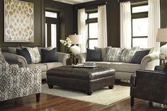 Jonette Traditional Stone Fabric Living Room Set