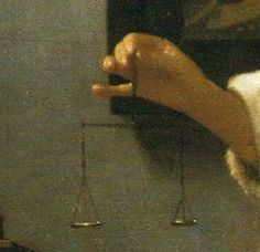 """""""Woman weighing Pearls"""" by Johannes Vermeer (detail)"""