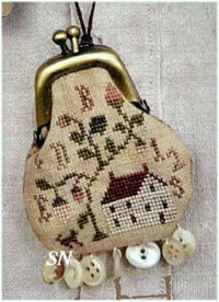 Home Sweet Home Thimble Purse by Brenda Gervais of Country Stitches. Other thimble purse designs include Birds & Berries, Quaker Sampler, Tree of Life and School Girl.
